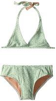 Toobydoo Green/White String Bikini (Infant/Toddler/Little Kids/Big Kids)