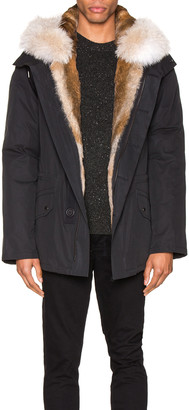 Yves Salomon Parka with Rabbit and Coyote Fur in Noir & Naturel | FWRD