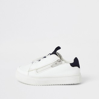 River Island Mini boys white lace-up zip side trainers