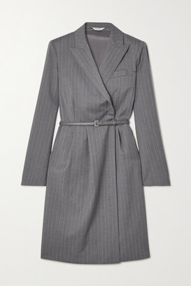 Max Mara Martin Belted Pinstriped Wool Wrap Dress - Gray