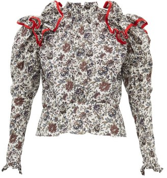 Matty Bovan - Ruffled Liberty-print Poplin Blouse - Black White