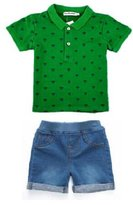 Ladouby Baby Boys' 2 Piece Set shorts sleeve Polos Tee Denim Pant 3-8 years