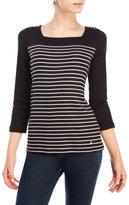 Nautica Stripe Three-Quarter Sleeve Top