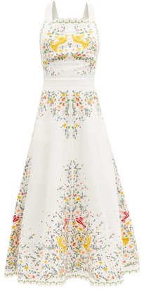 Zimmermann Carnaby Floral-embroidered Linen Midi Dress - White Multi