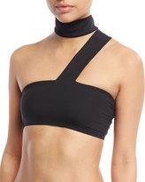 Onia Mia Stretch Solid Bandeau Collar Swim Top, Black