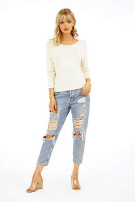 Veronica M Lurex Knit V Back Sweater