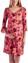 Glam Pink & Red Floral Ruffle-Sleeve Maternity Empire-Waist Dress