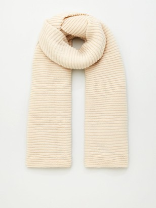 Very Knitted Rib Scarf - Cream