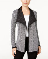 JM Collection Contrast-Trim Open-Front Cardigan, Only at Macy's