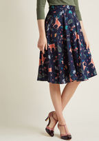 ModCloth Marvelous Midi Skirt with Pockets in Forest Critters in 3X