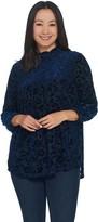 Laurie Felt Burnout Velvet Mock-Neck Long Sleeve Top