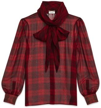 Saint Laurent Sheer Silk Check Pussybow Blouse