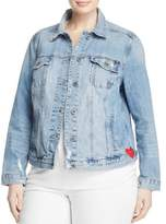 Lucky Brand Womens Plus Distressed Embroidered Denim Jacket