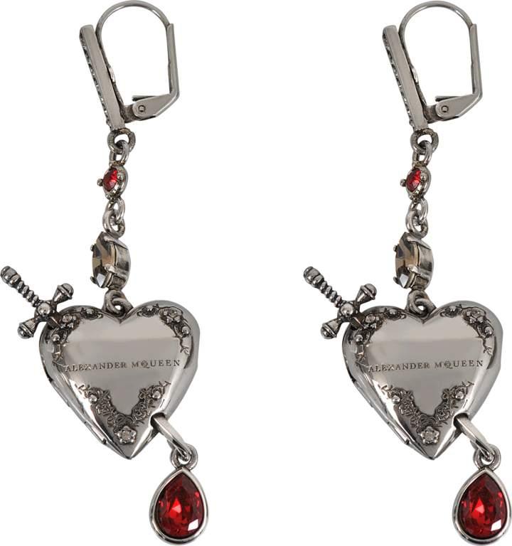 Alexander McQueen Metal Heart earrings