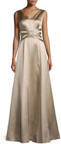 Kay Unger New York Sleeveless V-Neck Satin Gown, Mocha