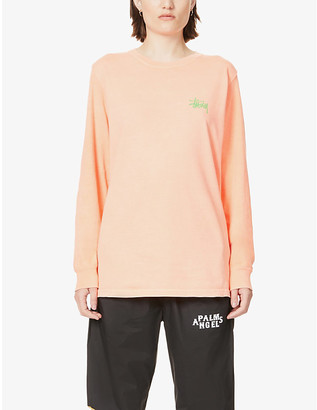 Stussy Logo-print long-sleeved cotton-jersey top