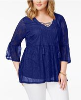 Almost Famous Plus Size Lace Bell-Sleeve Top