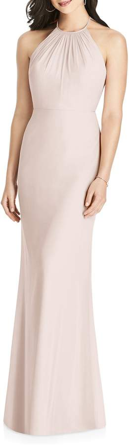 Dessy Collection Ruffle Back Chiffon Halter Gown