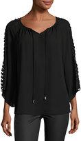 Neiman Marcus Lattice-Sleeve Peasant Blouse, Black