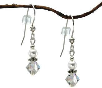 Handmade Jewelry by Dawn Small White Pearl and Crystal Bicone Sterling Silver Earrings Earrings