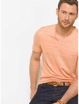 Michael Kors Linen and Cotton V-Neck T-Shirt