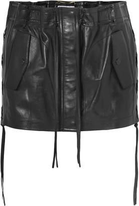 Saint Laurent Lace-up Leather Mini Skirt