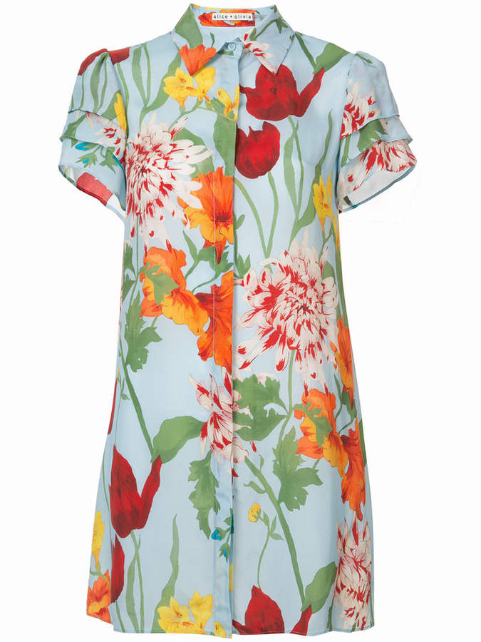 Alice + Olivia Alice+Olivia floral print shirt dress