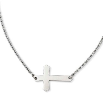 Chisel Stainless Steel Polished Sideways Cross 21-inch Necklace