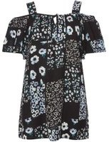 Dorothy Perkins Womens Black Floral Patchwork Tunic- Black