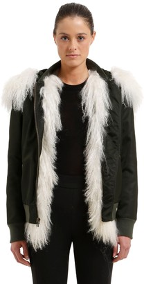 Mr & Mrs Italy Slim Fit Bomber Jacket W/ Fur