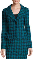 St. John Double-Knit Houndstooth Blazer, Blue/Black