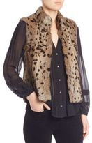 Joie Merwyn Leopard Print Rabbit Fur Vest
