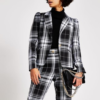 River Island Womens Black mono check long sleeve blazer