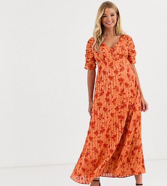 Asos DESIGN Maternity button through maxi tea dress with ruched sleeves in floral print