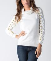Yuka Paris Ivory Embellished Ruched-Sleeve Cowl Neck Sweater