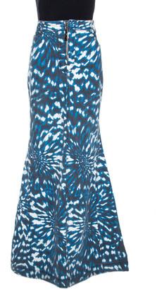 Just Cavalli Grey & Blue Abstract Print Denim Maxi Skirt L