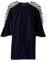 Betsy & Adam Women's Embellished Sleeve Blouson Dress
