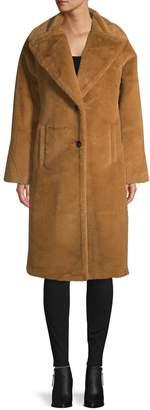 AVEC LES FILLES Oversized-Fit Bonded Faux Fur Midi Coat