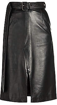 Marni Women's Leather A-Line Front Slit Skirt
