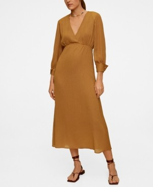 MANGO Women's Metallic Thread Midi Dress