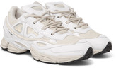Raf Simons + Adidas Ozweego Iii Leather, Canvas And Satin Sneakers
