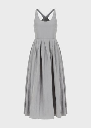 Emporio Armani Long Dress In Crinkled Fabric With Crossover Back