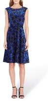 Tahari Petite Women's Flocked Velvet A-Line Dress