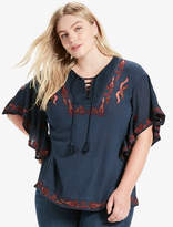 Lucky Brand Lace Up Embroidered Peasant Top