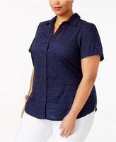 Karen Scott Plus Size Eyelet Short-Sleeve Shirt, Created for Macy's