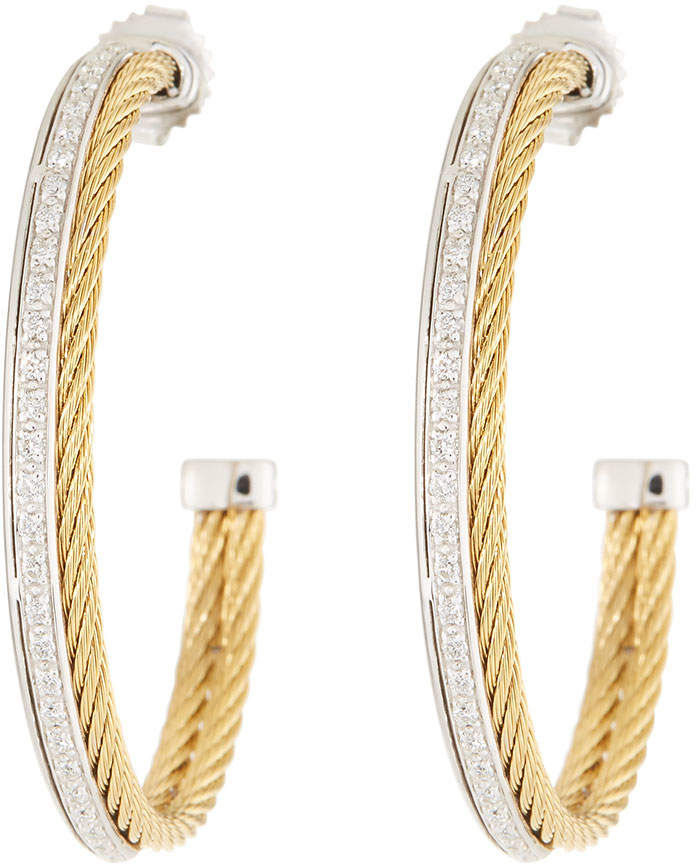 Alor Classique Diamond Hoop Earrings, Yellow