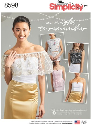 Simplicity Special Occasion Tops Sewing Pattern, 8598