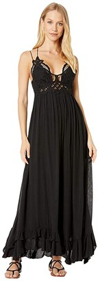 Free People Adella Maxi Slip (Black) Women's Clothing
