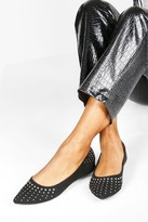 boohoo Wide Fit Studded Pointed Ballets