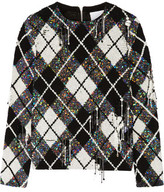 Ashish Distressed Embellished Argyle Silk-Georgette Top